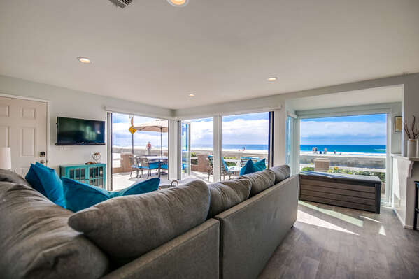 Open Living Room with ocean views and couches