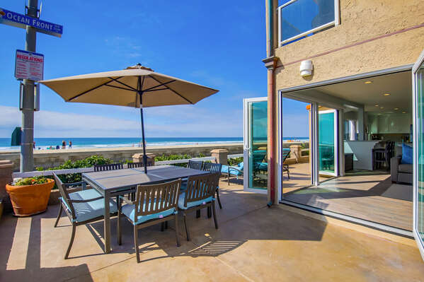 Spacious outdoor patio at this San Diego Beachfront Rental in Mission Beach!