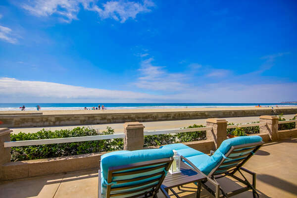 Ocean front view from the porch of this San Diego Beachfront Rental in Mission Beach