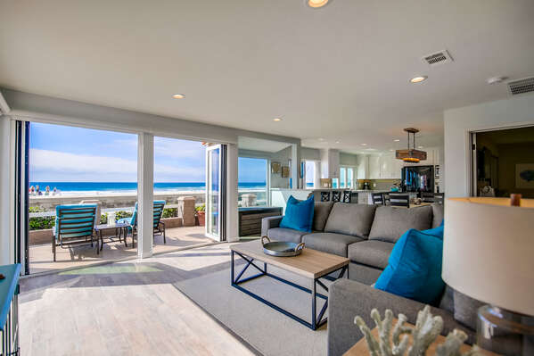 Ocean views from the living room of this San Diego Beachfront Rental in Mission Beach