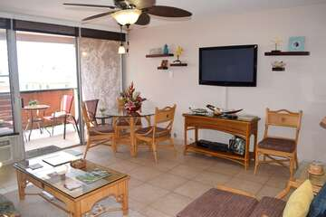 Flat screen tv and comfortable dining area