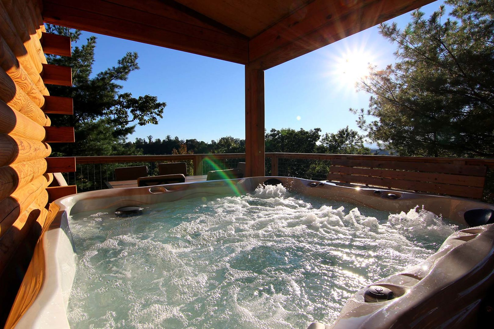 Enjoy soaking in the hot tub after a long day of hiking!