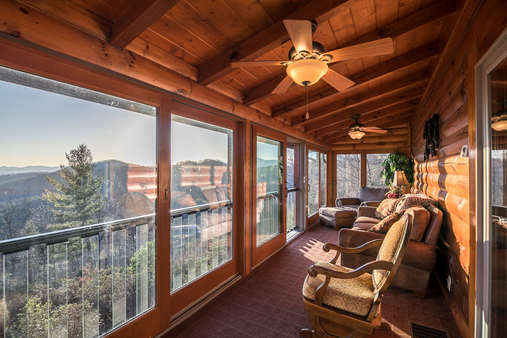 Screened in porch overlooking the mountains