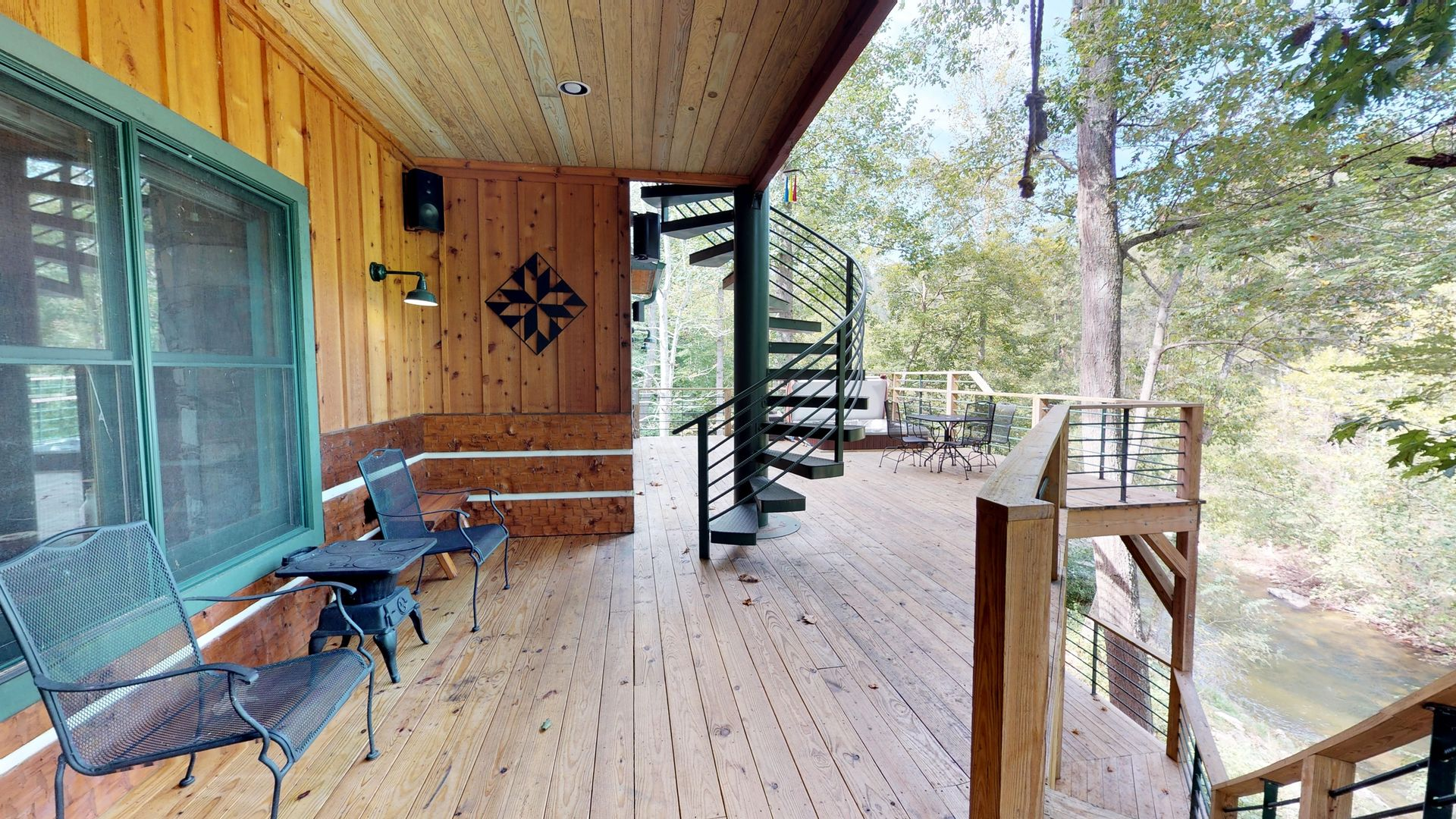 Deck with chairs and access to the river