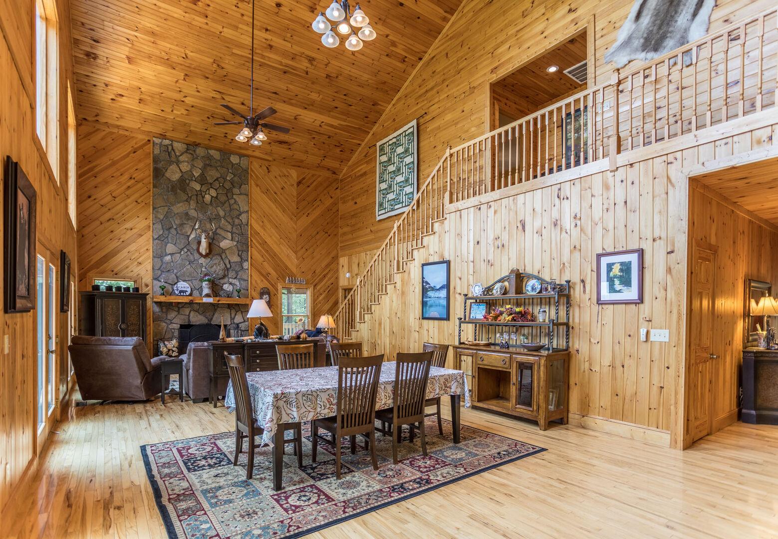 Open floor plan between kitchen, dining space and living room