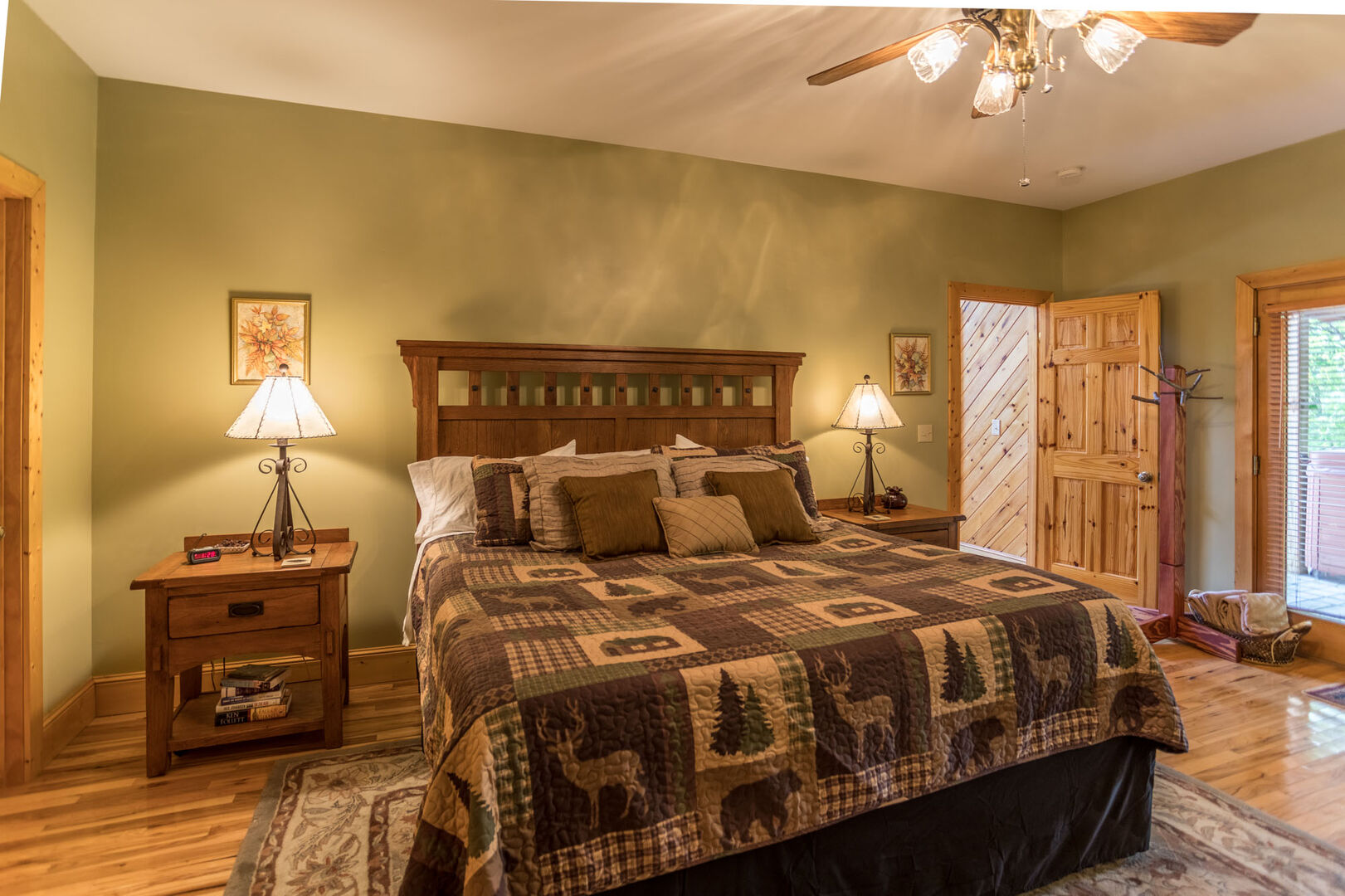Master bedroom has king size bed