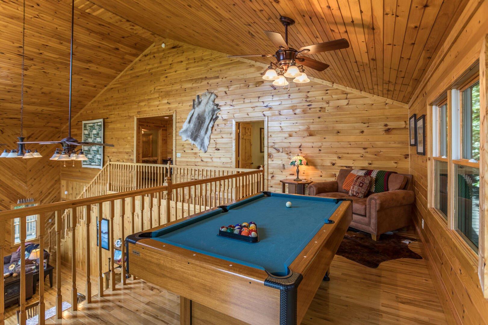 Pool table in upstairs loft