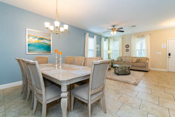 Formal seating area with dining table seating 8