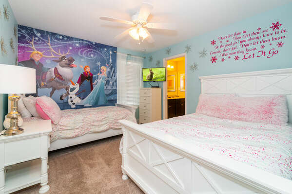 Bedroom 6 has a single and a double bed and a Frozen theme (upstairs)