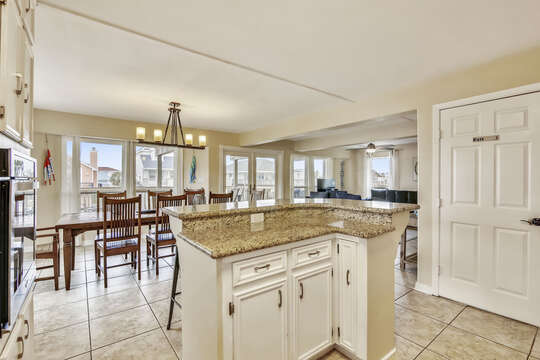 Reel Me In offers a corner island with additional preparation countertop space