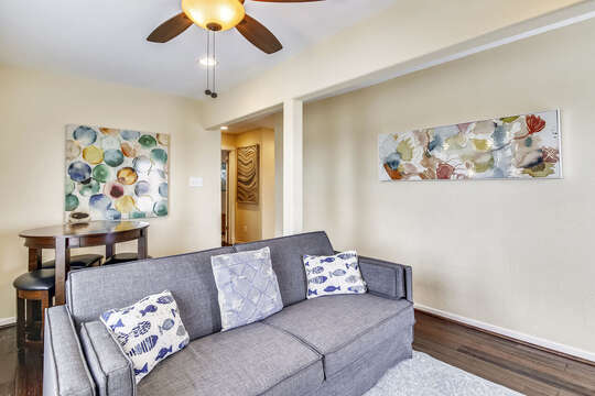 Reel Me In - upper level second living area with additional table