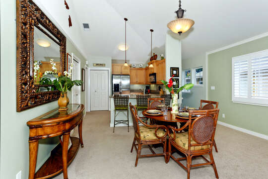 The Dining Area is Open to Kitchen and Living Area