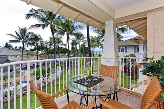 Cozy Balcony Seating at our Oahu Vacation Rental