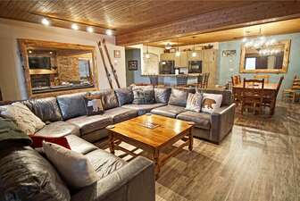 Open Concept design combines the Living Room, Dining Room, and Kitchen into one large space