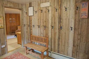 Entry with bench and coat hooks galore