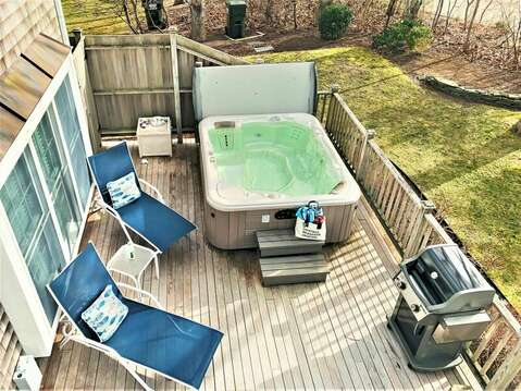 Birds eye view of the hot tub and lounge chairs calling you to relax and enjoy! - 24 Sea Mist Lane Chatham Cape Cod New England Vacation Rentals