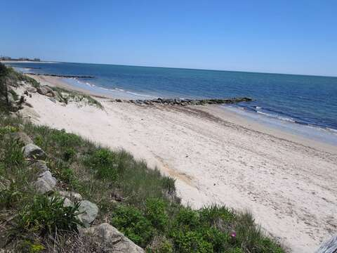 Looking to the left-Wyndemere Bluffs Beach- sandy shores with warmer water and gentle waves!  Harwich Port Cape Cod - New England Vacation Rentals