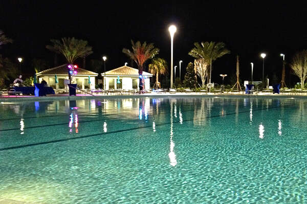 On-site facilities: Pool at night