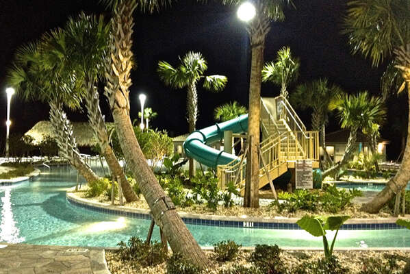 On-site facilities: Lazy river at night