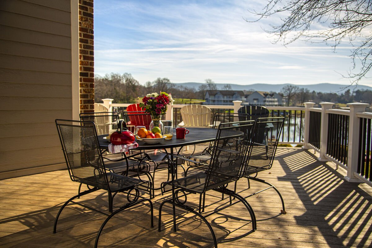Breakfast overlooking Smith Mountain Lake and the mountain