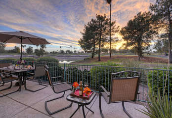 Cheers to the gorgeous sunset and golf course views from our private patio.