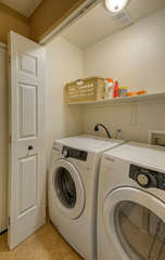 In-unit front-loading washer and dryer are available for efficiently completing your laundry tasks. Detergent is supplied.