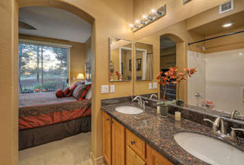 Primary bath features a new granite top and dual vanity sinks.