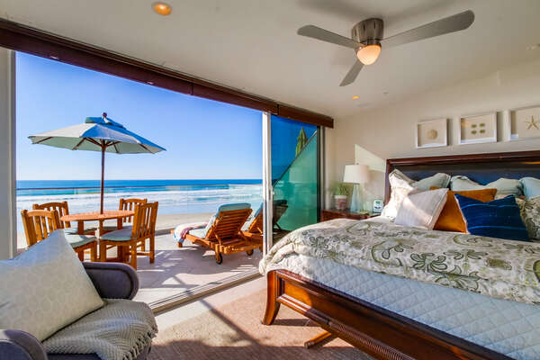 Master Bedroom with King Bed and Balcony