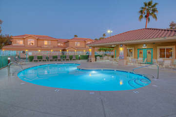 Sparkling community pool is heated for refreshing dips year round.