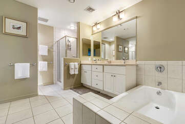 Master Bathroom with Double Sinks, Tub and Walk In Shower