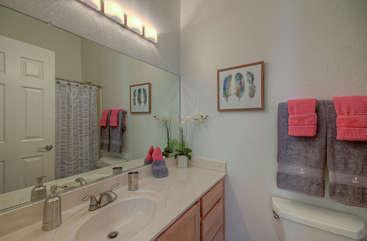 Second bath includes tub/shower combination