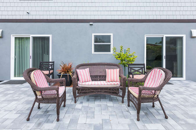 Patio seating in the backyard