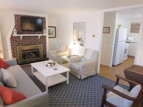 Flat screen TV over the fireplace - 41 Whip O Will Harwich Cape Cod - New England Vacation Rentals