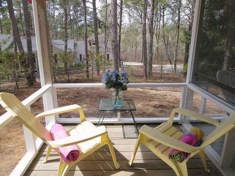 Small Deck just off porch and entry to kitchen Screened in porch-41 Whip O Will  Harwich Cape Cod - New England Vacation Rentals