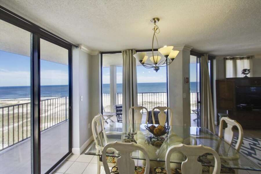 Dining Area with a table for 6 and View of the Gulf all around