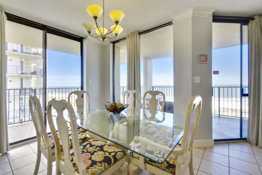 Dining Table seating for 6 with surrounding Water Views