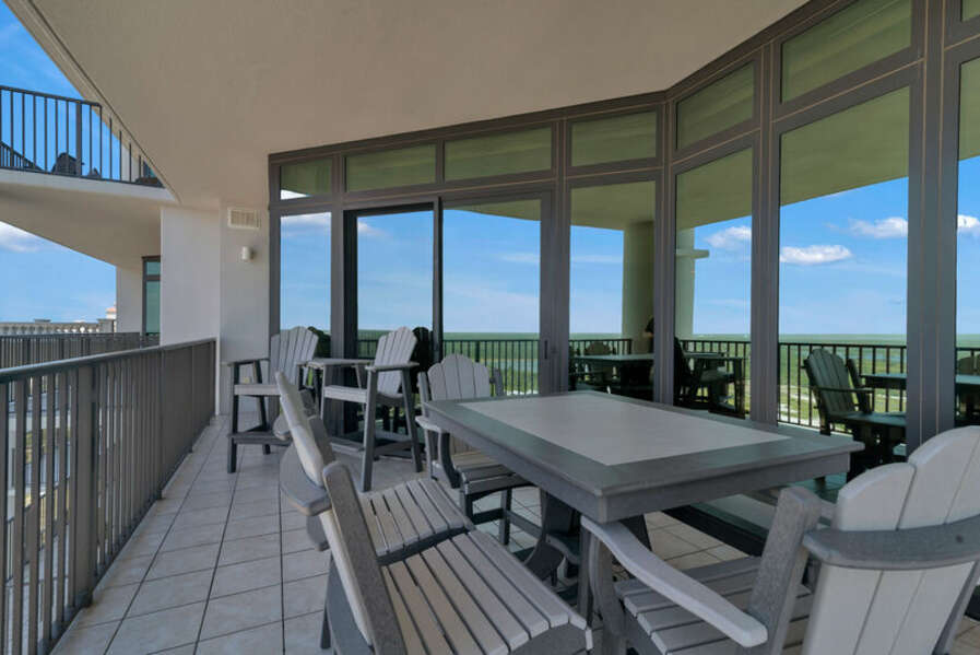 Plenty of seating on Private Balcony overlooking the Gulf State Park