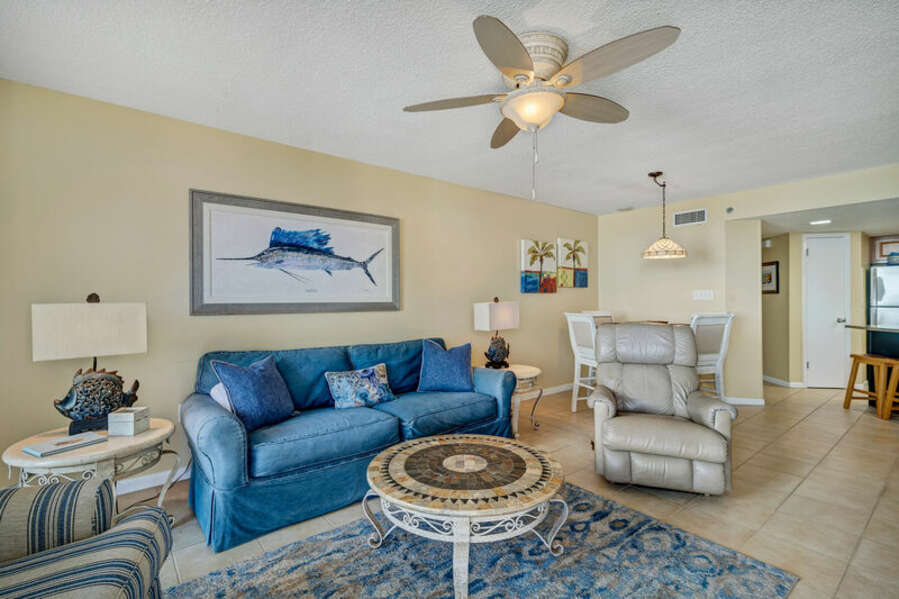 Spacious Living Room with a Sleeper Sofa and Fantastic View of the Gulf