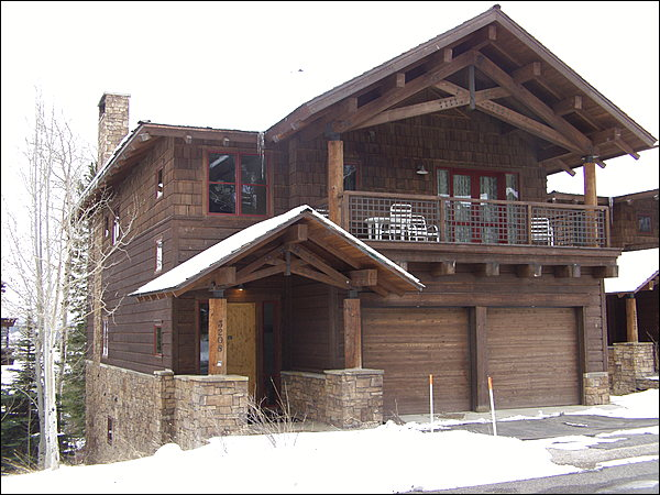 Exterior View of this large single family home at the base of Jackson Hole Mountain Resort.