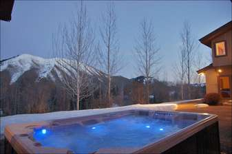 Hot Tub with light on blue