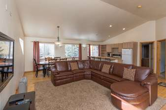 Third living room with reclining leather sofa