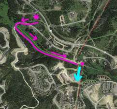 Ski Out from the Snowflake  (pink) then ride up the White Otter chair (blue)