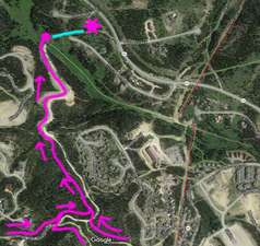 Multiple Ski In access trails lead to the pink Dot, then walk 100 yards (blue) to the home (snowflake)