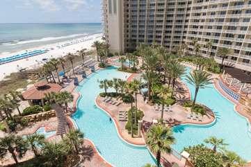 View of beautiful lagoon-style pool