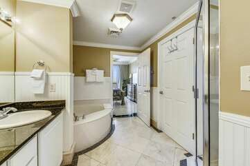 Gorgeous master bath with huge garden tub and stand up shower