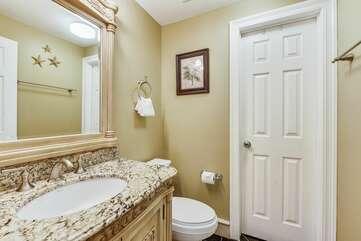 Vanity space in guest half bathroom