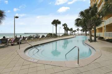 Pool with a beach view