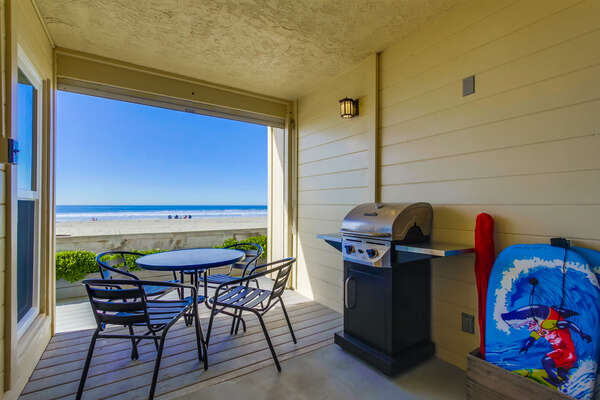 Private Oceanfront Patio with BBQ