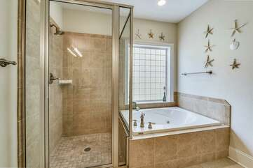 Tile shower and Jacuzzi tub