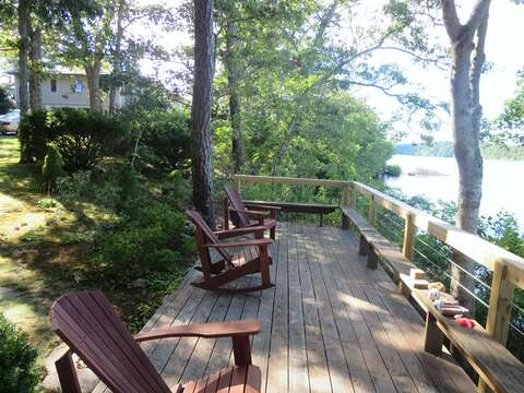 Deck sits right at the waters edge with sandy beach area below-160 Long Pond Drive Harwich Cape Cod - New England Vacation Rentals
